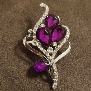 Dark Purple and Silver Brooch by Crystal